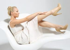 woman with her legs up